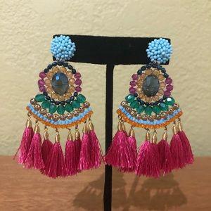 Beaded, Silk Fringe, Dangle Earrings, Artisan NWOT
